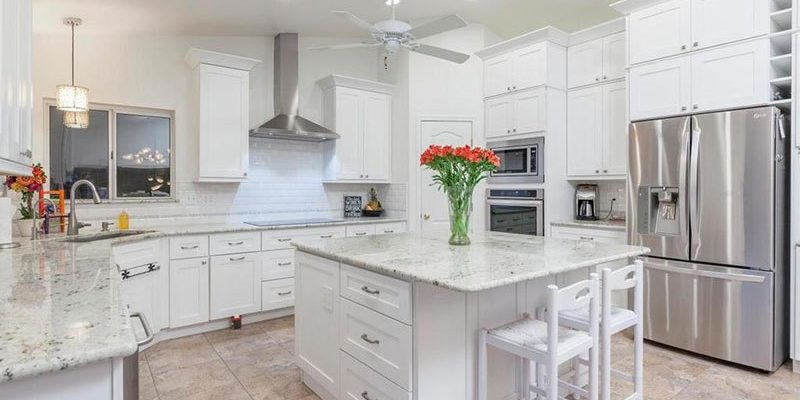 White Granite Countertops in Tampa Homes make a Neoclassical Style