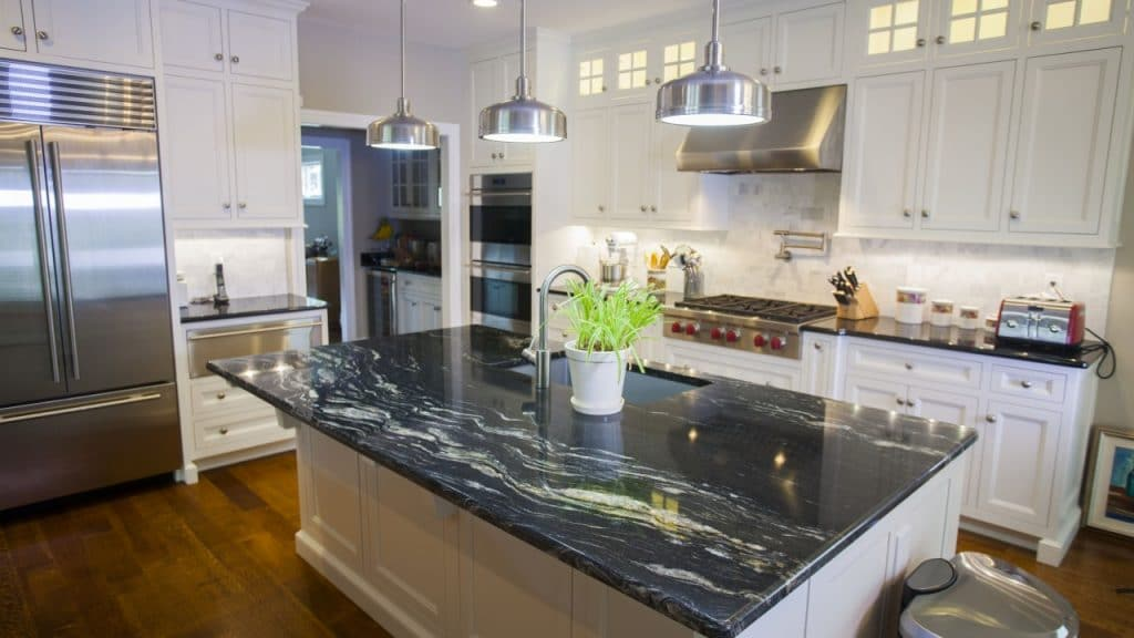 Dark granite countertops