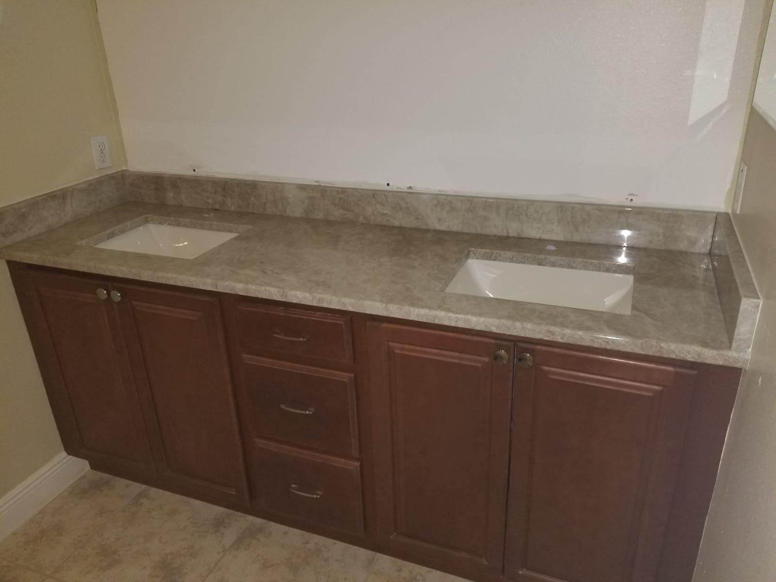 Customer - Wideman, William Material - Taj Mahal Quartzite Bathroom Vanity Countertop